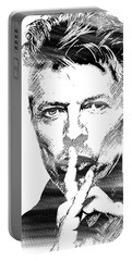 David Bowie Bw Portable Battery Charger by Mihaela Pater