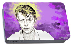Portable Battery Charger featuring the drawing David Bowie by Jason Tricktop Matthews