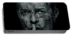 David Bowie Text Portrait - Typographic Face Poster Created With All The Album Titles By David Bowie Portable Battery Charger