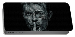 David Bowie Text Portrait - Typographic Poster With Album Titles And Background With Songs Names Portable Battery Charger