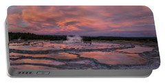 Dawn At Great Fountain Geyser Portable Battery Charger by Roman Kurywczak
