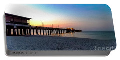 Dawn At Gulf Shores Pier Al Seascape 1283a Digital Painting Portable Battery Charger