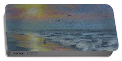 Dawn Mist - Three Gulls Portable Battery Charger by Kathleen McDermott