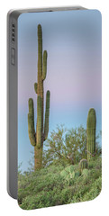 Dawn Of Saguaros Portable Battery Charger by Greg Nyquist