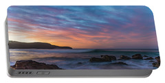 Dawn Seascape With Rocks And Clouds Portable Battery Charger