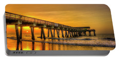 Portable Battery Charger featuring the photograph Dawn Under Tybee Island Pier Sunrise Reflections Art by Reid Callaway