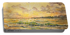 Portable Battery Charger featuring the painting Dawns View Of Siesta Key by Lou Ann Bagnall