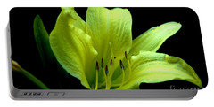 Day Lily At Night Portable Battery Charger by Barbara S Nickerson