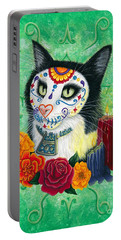 Portable Battery Charger featuring the painting Day Of The Dead Cat Candles - Sugar Skull Cat by Carrie Hawks