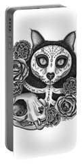 Portable Battery Charger featuring the drawing Day Of The Dead Cat Skull - Sugar Skull Cat by Carrie Hawks
