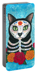 Day Of The Dead Cat - Sugar Skull Cat Portable Battery Charger