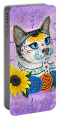 Day Of The Dead Cat Sunflowers - Sugar Skull Cat Portable Battery Charger