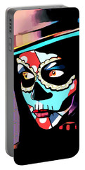 Day Of The Dead Skull Woman Wearing Top Hat Portable Battery Charger