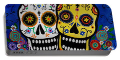 Portable Battery Charger featuring the painting Day Of The Dead Sugar by Pristine Cartera Turkus