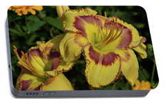 Portable Battery Charger featuring the photograph Daylilies And Zinnia by Sandy Keeton