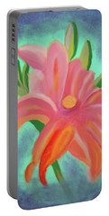 Portable Battery Charger featuring the painting Daylily At Dusk by Margaret Harmon