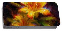Portable Battery Charger featuring the painting Daylily Sunshine - Colorful Tiger Lily/orange Day-lily Floral Still Life  by Karen Whitworth