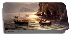 Day's End And Work Begins In The Gulf Of Naples Portable Battery Charger