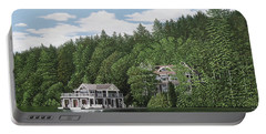 Portable Battery Charger featuring the painting De Groote Summer Home Muskoka by Kenneth M Kirsch