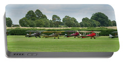 Portable Battery Charger featuring the photograph De Havilland Tiger Moths Line-up by Gary Eason