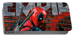Deadpool Painting Portable Battery Charger by Paul Meijering