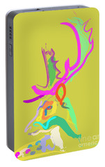 Portable Battery Charger featuring the painting Dear Deer by Go Van Kampen