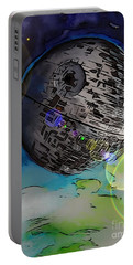 Deathstar Illustration Portable Battery Charger by Justin Moore
