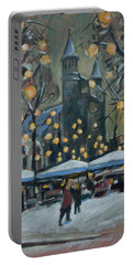 Portable Battery Charger featuring the painting December Lights At The Our Lady Square Maastricht 2 by Nop Briex