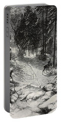 December Night Snow Covered Wood Portable Battery Charger