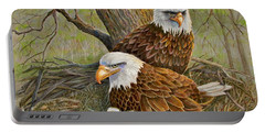 Decorah Eagle Family Portable Battery Charger by Marilyn Smith