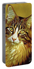 Portable Battery Charger featuring the digital art Decorative Digital Painting Maine Coon A71518 by Mas Art Studio