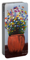 Portable Battery Charger featuring the painting Impressionist Wildflower Garden Painting A103017 by Mas Art Studio