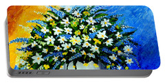 Portable Battery Charger featuring the painting Decorative Floral Acrylic Painting G62017 by Mas Art Studio