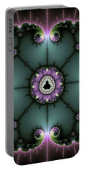Portable Battery Charger featuring the digital art Decorative Fractal Art Purple And Green by Matthias Hauser