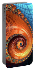 Portable Battery Charger featuring the digital art Decorative Fractal Spiral Orange Coral Blue by Matthias Hauser