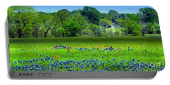Decorative Texas Homestead Bluebonnets Meadow Mixed Media Photo H32517 Portable Battery Charger