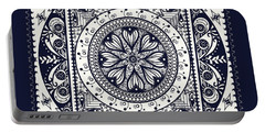 Portable Battery Charger featuring the drawing Deep Blue Classic Mandala by Deborah Smith