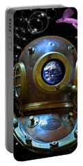 Deep Diver In Delirium Of Blue Dreams Portable Battery Charger by Pedro Cardona
