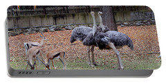 Deer And Ostriches Portable Battery Charger by Suhas Tavkar