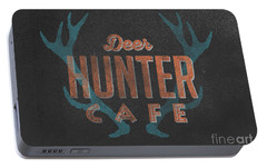 Deer Hunter Cafe Portable Battery Charger by Edward Fielding