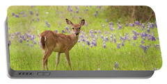 Deer In The Bluebonnets Portable Battery Charger