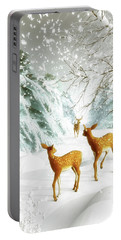 Deer In The Snow Portable Battery Charger