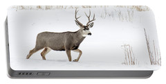Portable Battery Charger featuring the photograph Deer In The Snow by Rebecca Margraf