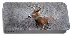 Deer On A Frosty Morning  Portable Battery Charger by Nancy Landry