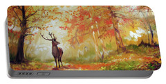 Deer On The Wooden Path Portable Battery Charger