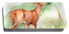 Deer Painting In Watercolor Portable Battery Charger