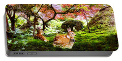 Deer Relaxing In A Meadow Portable Battery Charger