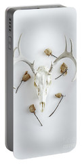 Deer Skull With Antlers And Roses Portable Battery Charger