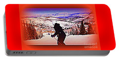 Portable Battery Charger featuring the photograph Deer Valley Utah Powder by Richard W Linford