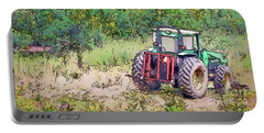 Portable Battery Charger featuring the photograph Deere In The Wildflowers - Line And Ink Art by Kerri Farley